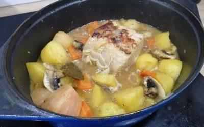 Roti de porc Latude et sa garde de légumes de saison